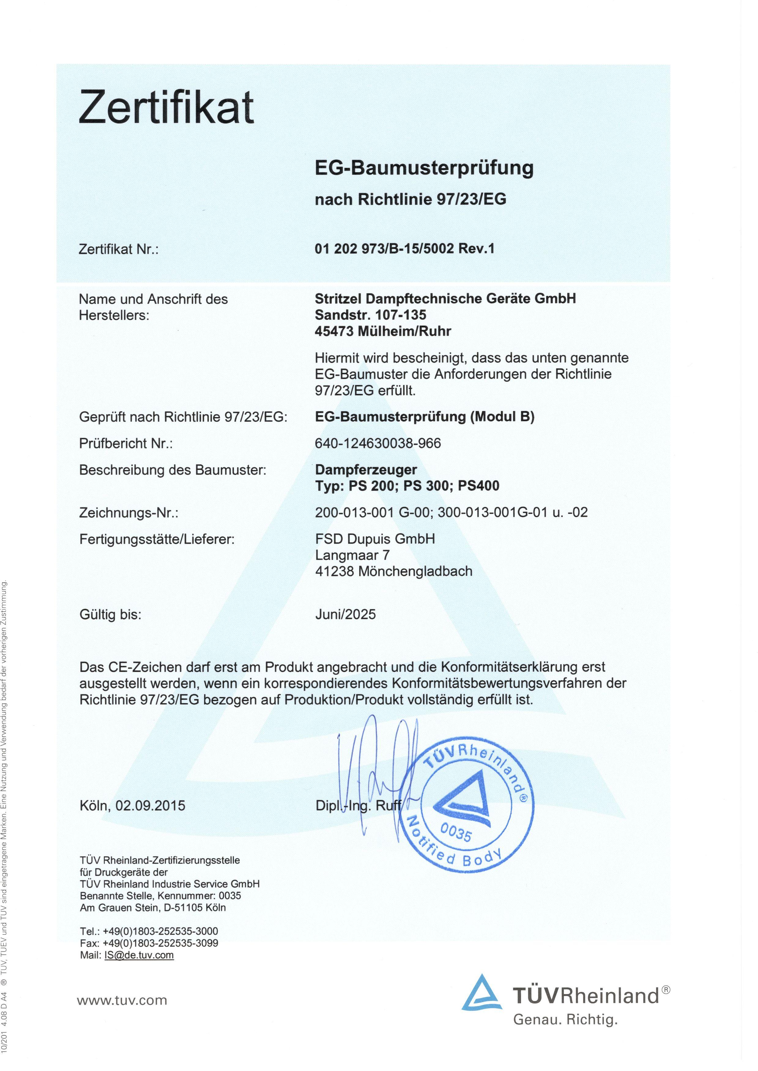 Dampferzeuger - Baumusterprüfung