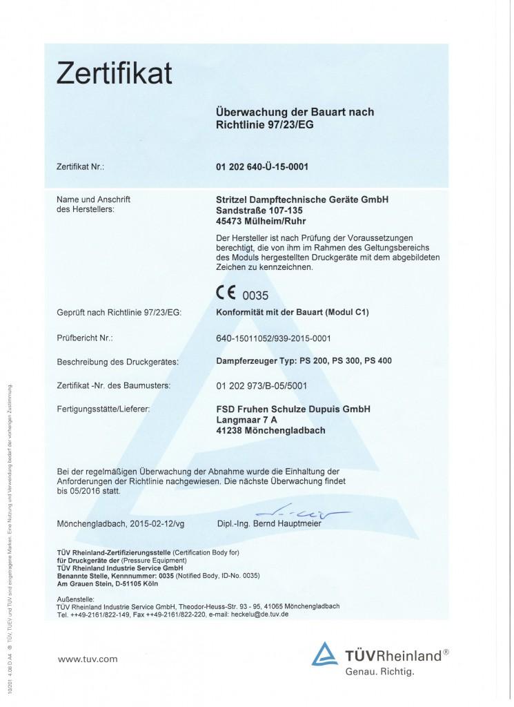 Dampferzeuger - Konformitätsbescheinigung